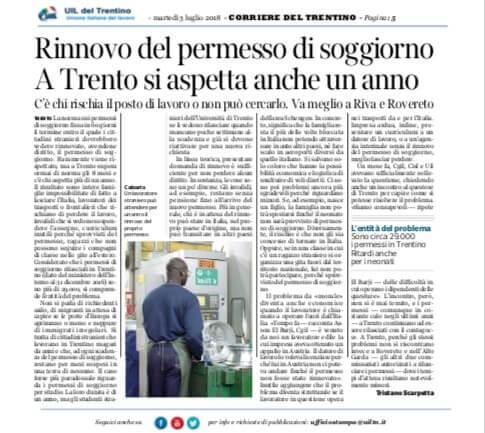 Rinnovo del permesso di soggiorno A Trento si aspetta anche ...
