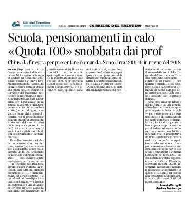 Scuola pensionamenti in calo quota 100 snobbata dai for Finestra quota 100 dipendenti pubblici